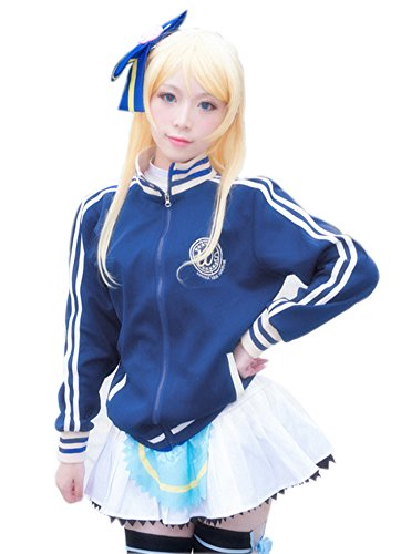 ROLECOS Womens Zip up Sports Jacket Coat Japanese Anime Cosplay Costume Navy Blue XXL]()