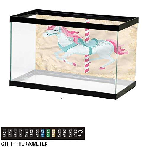 bybyhome Fish Tank Backdrop Horse,Vintage Carousel Horse Circus,Aquarium Background,72