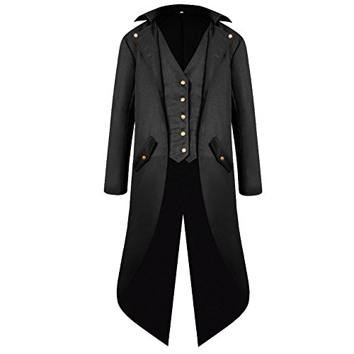 H&ZY Men's Steampunk Vintage Tailcoat Jacket Gothic Victorian Frock Coat Uniform Halloween Costume Black -