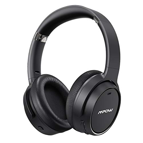 Mpow Hybrid Noise Cancelling Headphones, [Upgraded] Bluetooth 5.0 Over Ear Wireless Headphones with Fast Charge, Deep Bass, CVC 6.0 Microphone, 30H Playtime for Travel Work