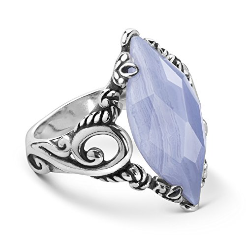 Carolyn Pollack Sterling Silver and Blue Lace Agate Gemstone Marquise Ring - 5