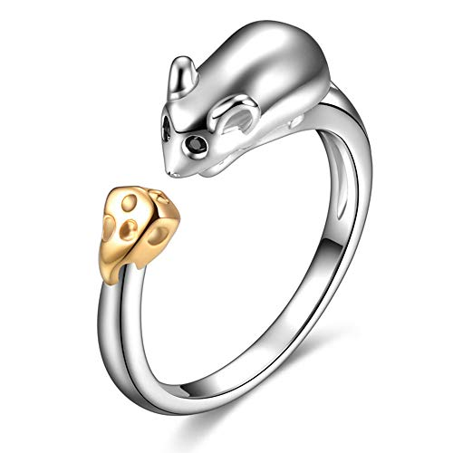 (Mouse Ring Sterling Silver Gifts for Women Gold Crystal Cuff Adjustable Chinese Zodiac Jewelry)