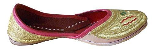 Kalra Zapatos Mujer sintética de con Piel Dorado Creations Casual para Bordado apHaqK47w