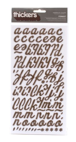 Thickers Chipboard Stickers Accents (American Crafts Thickers Woodgrain Chipboard Letter Stickers, Forest Chestnut)