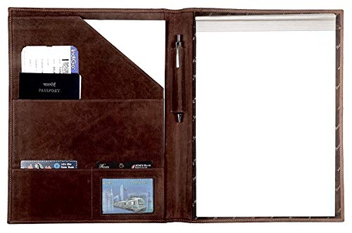 (Handmade Leather Luxury Business Portfolio by Rustic Town | Professional Organizer Gift For Men & Women | Durable Leather Padfolio 3 + 1 Sleeves for documents and notepad (Dark Brown))