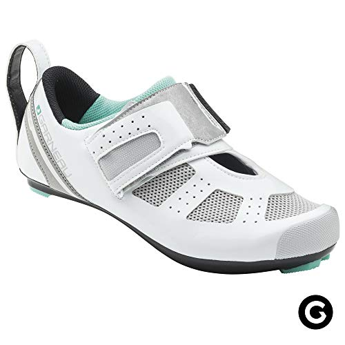 Triathlon Racing Bike - Louis Garneau Women's Tri X-Speed III Triathlon Cycling Shoes for Racing and Indoor Biking, Compatible with Major Road and SPD Pedals, White/Mojito, US (7), EU (38)