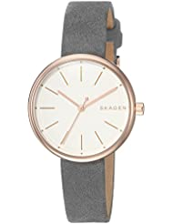 Skagen Womens Signatur Quartz Stainless Steel and Leather Casual Watch, Color:Grey (Model: SKW2644)