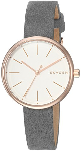 - Skagen Women's Signatur Stainless Steel Analog-Quartz Watch with Leather-Calfskin Strap, Grey, 12 (Model: SKW2644)