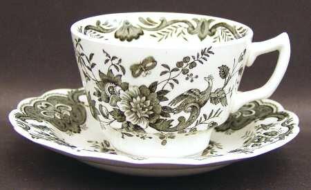 Vintage Ridgway Staffordshire England Black Windsor Pattern Flat Tea Cup & Saucer - Transferware Black