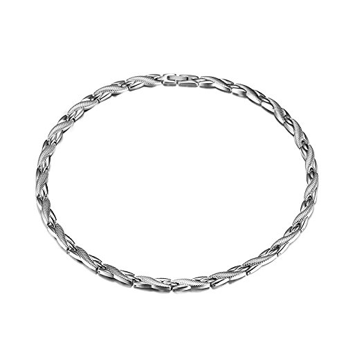 (HiTreasure Men's Silver Titanium Steel 4 Elements Magnetic Therapy Link Chain Necklace for Neck Arthritis Headaches Pain Relief (Imported,3500 Gauss Each Link))
