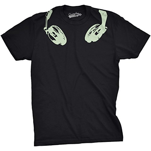 Mens Glow in The Dark Headphones T Shirt
