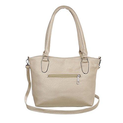 Damen Tasche Handtasche Used Schultertaschen Umhängetasche Shopper Tasche Henkeltasche Beuteltasche Gold