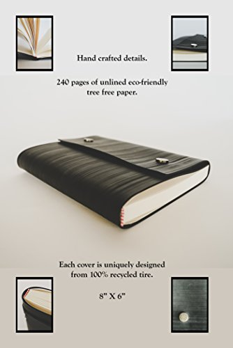Notebook Journal From Recycled Tires by Streamlet. 100% Environmentally Smart. Handmade with Tire Cover, Vegan Leather Straps, 8x6 Inches, 240 Blank Pages. Compare to Quality Leather BRONZE by STREAMLET (Image #2)