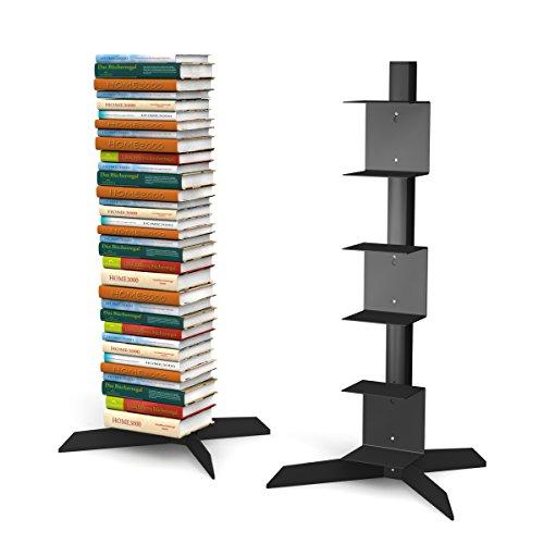Freistehendes Bücherregal mit 3 kleinen Regalen in schwarz für ca. 115 cm Büchersäule