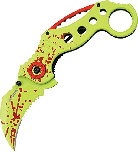 (Z Hunter ZB-051GR Karambit-Style Spring Assist Folding Knife, Green Blade, Green Zombie Handle, 5-Inch Closed)