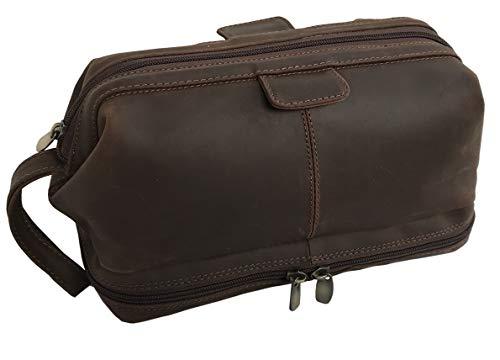Leather Unisex Toiletry Bag Travel Dopp Kit Grooming and Shaving Kit for Men Women
