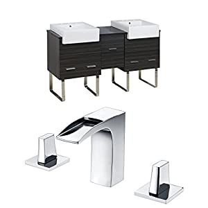 lovely American Imaginations 62-in x 20-in. 62-in. W x 20-in. D Plywood-Melamine Vanity Set In Dawn Grey With 8-in. o.c. CUPC Faucet AI-17336