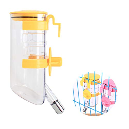 Dog Water Bottle Plastic Top-fill Drinking Dispenser Feeder with Hook No Drip,Rustproof,Leak-proof,Suspensible,Easy Installation,Keep Pets Hydrated (Yellow,11.96 oz,Nozzle Diameter:0.5 inch)