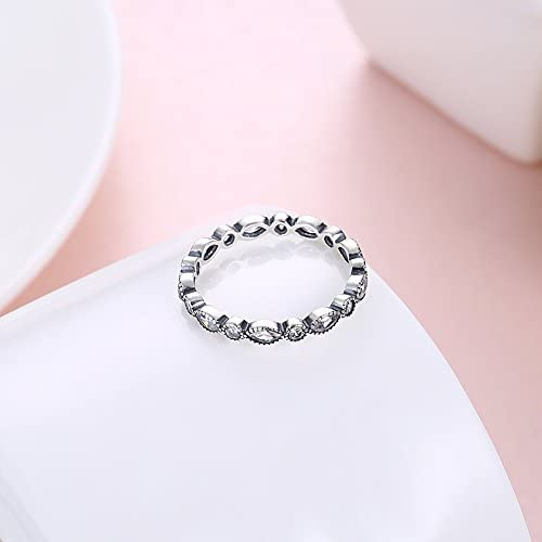 Details about  /Lucy Eternity Ring Wedding Band Cz Antiqued Silver Womens Ginger Lyne