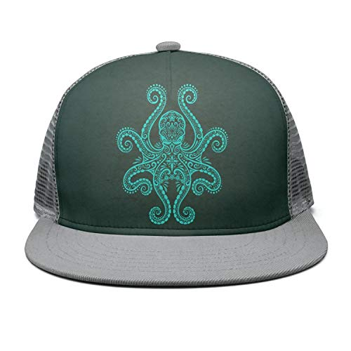 9adf3ec18dee8 Unisex Flat Brim Cap Green Light vigo Octopus Breathable mesh Golf Truck  Driver Hat