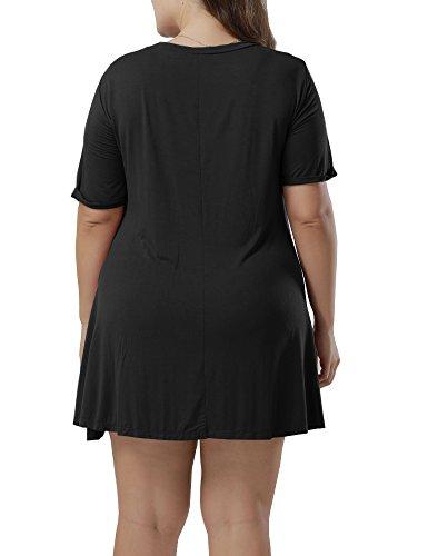 T Size Allegrace Short Women Plus Shirt Fashion Black Summer Sleeve Flowy Casual Dresses z4Fq4