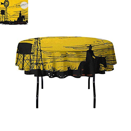 DouglasHill Windmill Washable Tablecloth Australian Outback Inspired Artwork Cowboy on Horse at Sunset Dinner Picnic Home Decor D67 Inch Earth Yellow Black and White