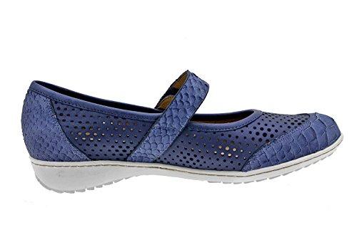 Semelle Chaussures Cuir Marine En Bleu Large Pour Amovible Et Velcro Fermeture 8756 Femme Confortable Piesanto Avec S5qwztf