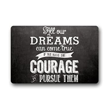 Custom Dreams Walt Disney Quote Machine Washable Top Fabric & Non-slip Rubber Backing Indoor Outdoor Home Office Bathroom Welcome Doormat 23.6  x 15.7  Non-woven Fabric Non Slip