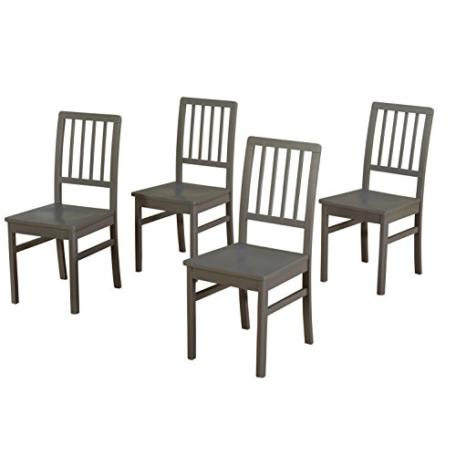 Target Marketing Systems Camden Dining Chair Set of 4, Gray (Dining Gray Wood Chairs)