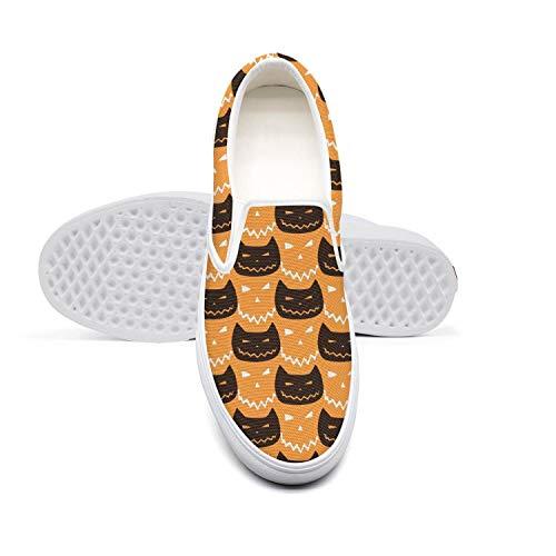 Cat Halloween Pumpkin Decorations Unisex Shoes White Slipons Skate Cool Sneakers -