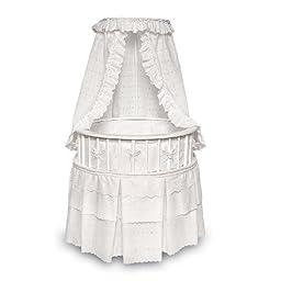 Badger Basket Elegance Round Baby Bassinet, White with White Eyelet