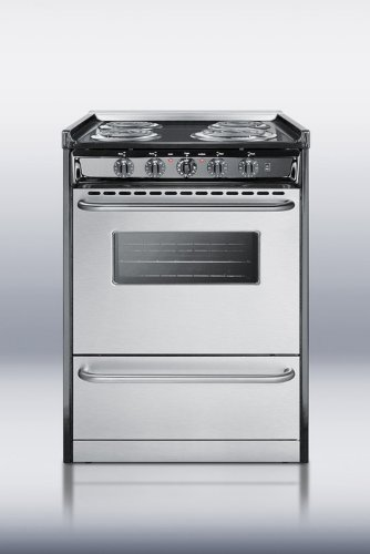 Summit TEM610BRWY Kitchen Cooking Range, Stainless (24in Backguard)