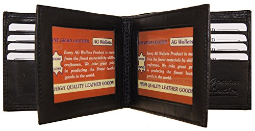 AG Wallets Men's Bifold Leather Wallet With Double Center Flap / 3 ID Windows Center Flap
