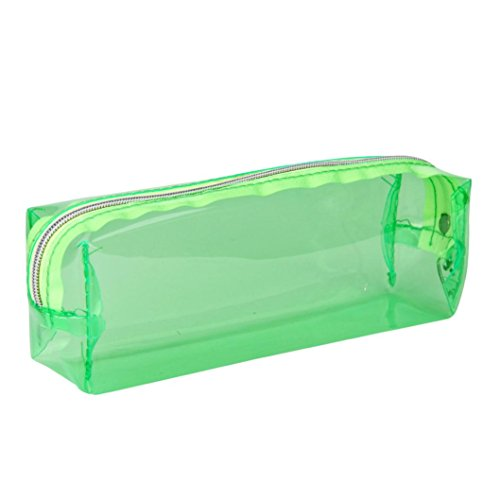 Oksale Transparent Zipper Pencil Pen Case Stationery Pouch Pocket Storage Bag (Green) (Makeup In The 80s)