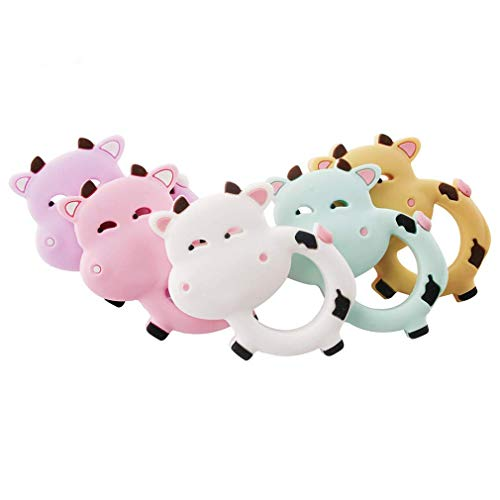 Biter teether Baby Silicone Pendant Teething Toy Accessory Cow teether Shower Gift 5pcs Mix Color