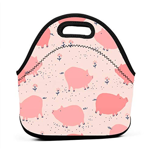 Janeither Cute Pig Seamless Graphics Portable Reusable Lunch Bag Waterproof Picnic Tote Insulated Cooler Zipper Box ()