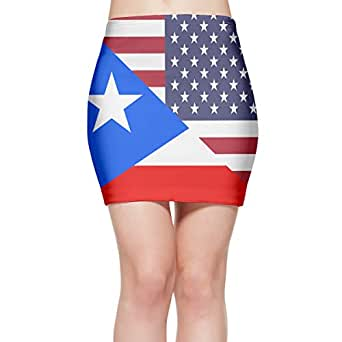 Amazon.com: American and Puerto Rico Flag Women's A-Line