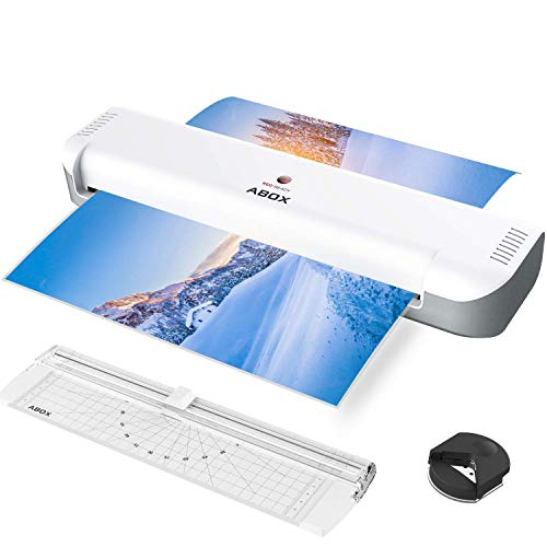 ABOX 13'' Thermal Laminator for A3/A4/A5/A7, 2019 Updated Laminating Machine with Portable Cutter&Corner Rounder&16 Pouches, Two-Roller System, High Speed, No Bubbles, Low Noise, for Home/Business