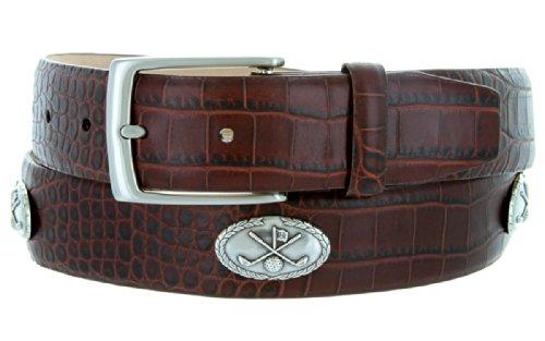 - Joseph Club Classic - Men's Italian Calfskin Designer Dress Belt with Golf Conchos (38 Alligator Brown)