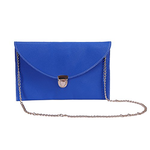 HDE Women's Fashion Clutch Chain Purse Gold Buckle Leather Envelope - Blue Purse