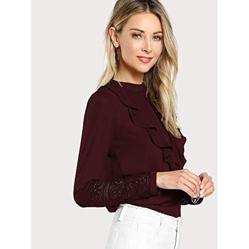 41e0SUL%2BAaL. SS500  - Alfa Fashion Ruffled Lace Casual Top for Women Western Under 500