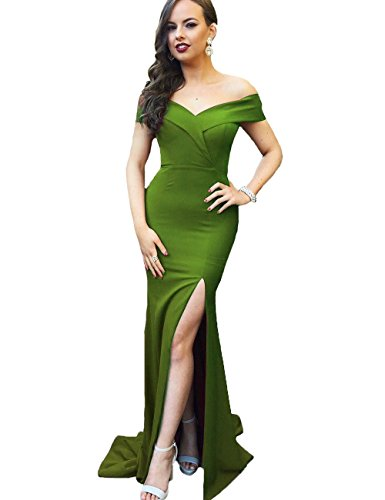 Dress Off Olive Long Women's Slit with Prom Mermaid Dreagel Dresses Bridesmaid Shoulder Zx8w7CqT