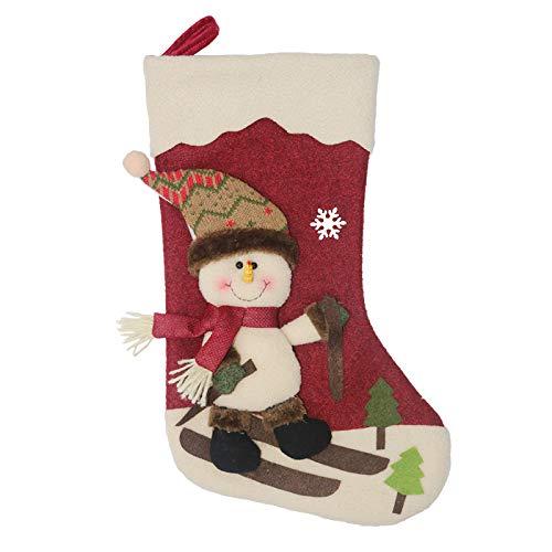 Calcetín de navidad 3 pcs,Bolsa de regalo de saco de Navidad para la decoración del árbol ,Adorno de Navidad Bolsa de dulces , Calcetín de decoración navideña Para llenar y colgar (46 * 25 cm)