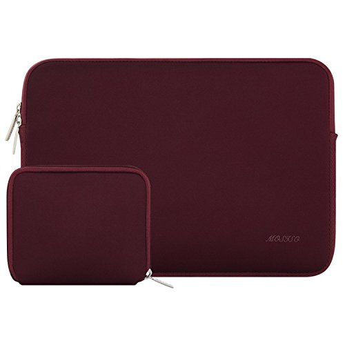 MOSISO Laptop Sleeve Bag Compatible 15 Inch MacBook Pro Touch Bar A1990 A1707 2018 2017 2016, 14 Inch ThinkPad Chromebook, Water Repellent Lycra Tablet Cover with Small Case, Wine Red (Inch Bottom Three Box)
