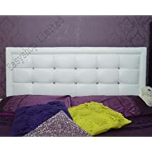 Super Quality MIAMI Faux Leather 4FT Headboard Tufted Crystal Button Bedroom Home Length:4FT, Height:20 Inches Available in sizes Single, Small Double, Double, Kingsize, Queen Size Comes in Black/White/Brown/Cream *****Fast Dispatch & Delivery***** (White) by FunkyBuys