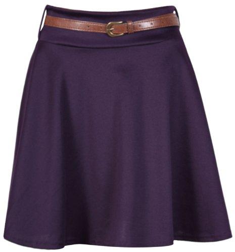 Purple Hanger Falda corta para mujer, con cinturón morado