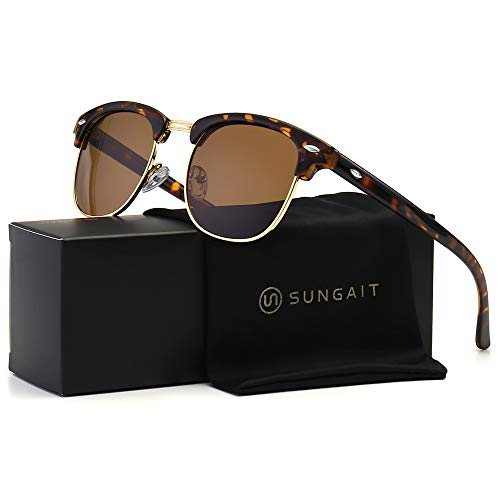 SUNGAIT 80s Sunglasses Retro Semi Rimless for Men Women (Amber Frame/Brown Lens) 3016 ()