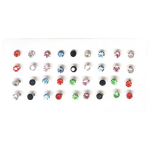 "Set Of 36 1/8"" Crystal Stud Earrings, 18 Pairs, On Nylon (Plastic) Posts, in Multi"