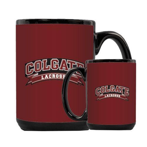 Colgate Full Color Black Mug 15oz 'Lacrosse' by CollegeFanGear