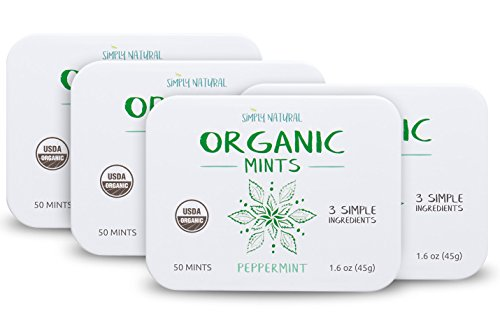 Simply Natural Organic Breath Mints, Peppermint, Powerful Fresh Breath Natural Candy, 3 SIMPLE INGREDIENTS, USDA Certified Organic, 50-Piece Tins, (Pack of 4) 200 Pieces